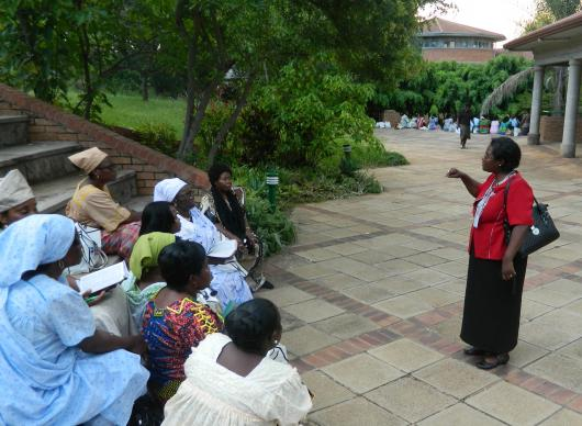 Bishop Joaquina Nhanala organizes Mozambican clergywomen at the Feb. 2012 consultation at Africa University. A UMNS photo by Garlinda Burton.
